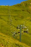 Chair lift at Mont Joly in summer. St. Gervais, Haute-Savoie, France stock photography