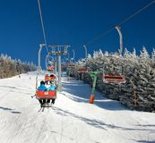 Chair lift on Mount Serak for downhill skiers Stock Photography