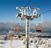 Chair lift on Mount Serak for downhill skiers Stock Image