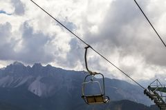 Chair lift in the mountain stock photography