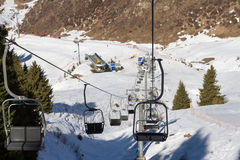 Chair lift in the mountains ski resort Royalty Free Stock Photography