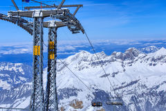 Chair lift on Mt. Titlis in Switzerland Stock Photos
