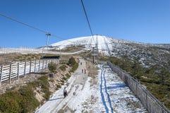 Chair lift in Navacerrada Ski Resort Royalty Free Stock Photo