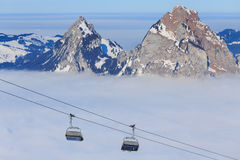 Chair Lift On The Fronalpstock Mountain In Switzerland Stock Photo