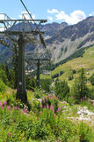 Chair lift seen from Mont Chetif in Courmayeur Royalty Free Stock Photos