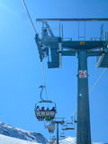 Chair lift with shadows and piste Royalty Free Stock Photos