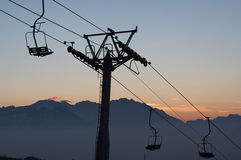 Chair lift silhouette Royalty Free Stock Images