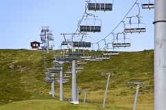 Chair lift on a ski lope in summer Stock Image