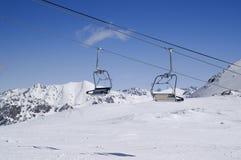 Chair lift at ski resort Royalty Free Stock Photo