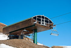 Chair lift in a ski resort Royalty Free Stock Image