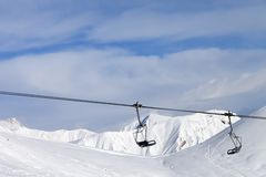 Chair lift at ski resort Royalty Free Stock Photography