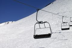 Chair-lift at ski resort Stock Photo