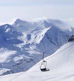Chair lift at ski resort Stock Photo