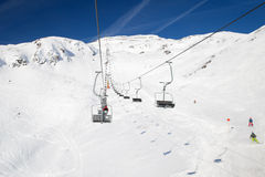Chair lift at a ski resort St. Anton am Arlberg. In winter time Royalty Free Stock Photography
