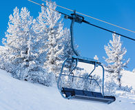 Chair lift for skiing Stock Photos