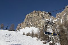 Chair lift in a skiing resort. Stock Photos