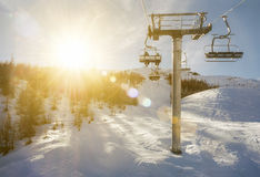 Chair lift in sunshine, Puy Saint Vincent Royalty Free Stock Photo