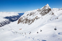 Chair lift up to Wurmkogl peak at the ski resort of Hochgurgl in Stock Photography