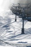 Chair lift under the snow Royalty Free Stock Photo