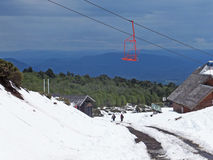 Chair lift up the volcan Villarica Stock Photo