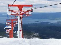 Chair lift up the volcan Villarica Royalty Free Stock Photography