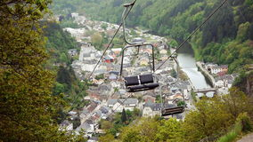 Chair lift and valley stock footage