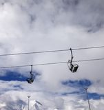 Chair-lift wide-angle view Royalty Free Stock Images