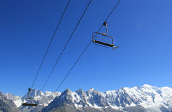 Chair lifts upon the Mont-Blanc mountain, France Stock Images