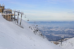 Chair lifts on the top of Kasprowy Wierch in Zakopane in winter Stock Images