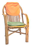 Chair made of rattan with pillows Stock Photos