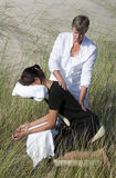 Chair massage. In the dunes on the island Ameland, the Netherlands stock images