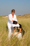 Chair massage. In the dunes on the island Ameland, the Netherlands stock image