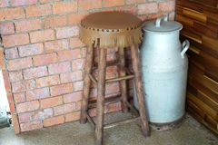 Decorated with chair and milk tank. Chair and milk tank for decorate home royalty free stock photos