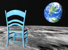Chair on the moon Royalty Free Stock Photos
