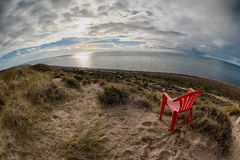 Chair outside patagonia lighthouse in valdes peninsula Royalty Free Stock Photo