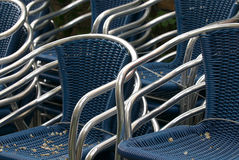 Chair parade. A lot of chairs waiting for summer royalty free stock photos