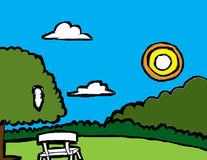 Chair in the park. Drawing and Painting chair in the park Royalty Free Stock Photography