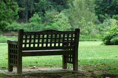 Chair in the parks. A wooden chair in the parks stock image