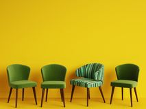 A chair with pattern colorful stripes among simple green chairs on yellow backgrond with copy space. Concept of minimalism. Digital illustration.3d rendering Royalty Free Stock Images