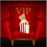 Chair and popcorn and a drink Royalty Free Stock Photos