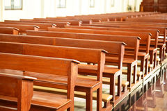 Chair prayer in the church, Interior Inside a Catholic Church Stock Image