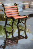 Chair on a rainy day. Empty outdoor chair on a rainy day Royalty Free Stock Image
