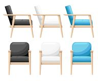 Chair realistic icon set four identical chairs with different colors are soft colorful with wooden legs  illustration Web si Stock Image