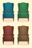 Chair realistic icon set four identical chairs with wooden legs vector illustration Stock Images