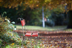 A chair for a rest in late autumn Stock Images