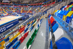 Chair in row of Sport arena Megasport, Moscow, Russia Royalty Free Stock Photo