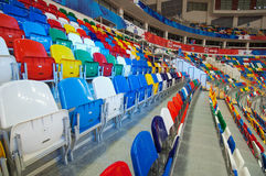 Chair in row of Sport arena Megasport, Moscow, Russia Stock Photos