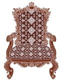 Chair - Royal old antique armchair. A isolated wooden structure of an royal antique armchair with  highly ornate damask pattern Royalty Free Stock Images