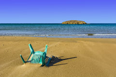 Chair in the Sand of Beach Stock Image