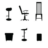 Chair set in black color illustraton Royalty Free Stock Photography